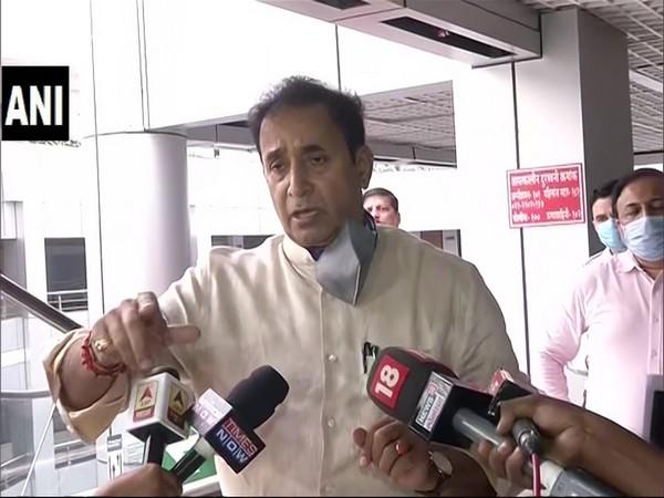 Maharashtra Home Minister Anil Deshmukh speaking to reporters on Thursday.