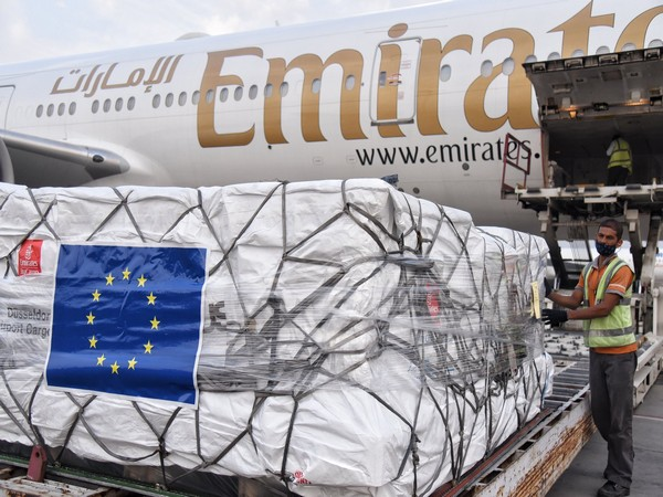 An aircraft carrying a shipment of ventilators, Remdesivir, from EU member states arrived in New Delhi.