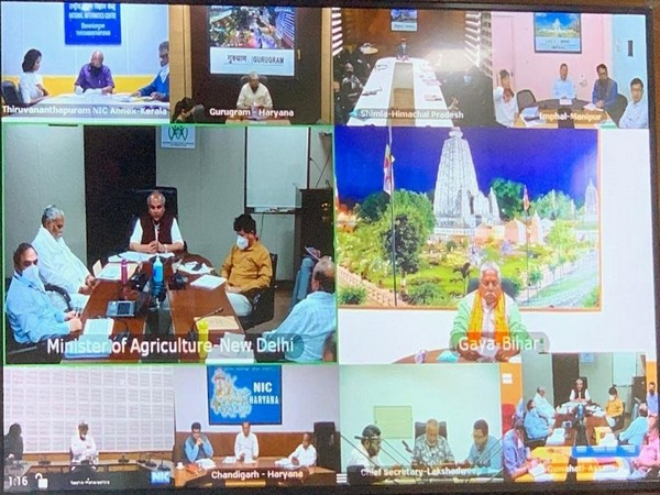 Union Agriculture Minister Narendra Singh Tomar spoke to State Agriculture Ministers on video conferencing earlier today. Photo/ANI