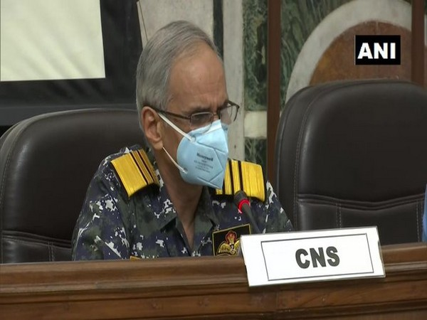 Indian Navy Chief Admiral Karambir Singh speaking to reporters on Friday.