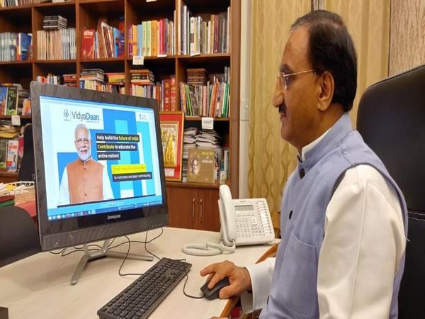 Union Human Resource Development Minister Ramesh Pokhriyal Nishank launched the national programme 'VidyaDaan 2.0' in New Delhi on Wednesday. Photo/ANI