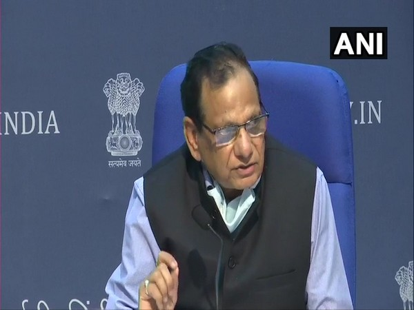 Dr VK Paul, Niti Aayog member and Chairman of Empowered Group 1 addressing the media on Friday. Photo/ANI