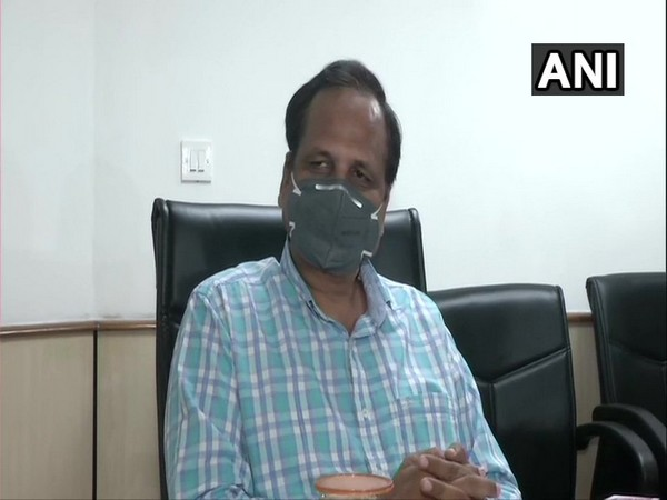 Delhi Health Minister Satyendra Jain speaking to reporters in New Delhi on Monday.     Photo/ANI