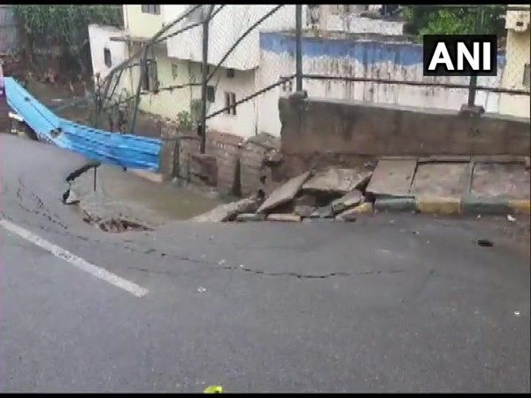 Sidewall of storm drain in Pattegarhpalya area of Bengaluru collapsed on Wednesday due to rain.