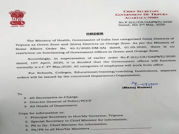 Order issued by Tripura Chief Secretary (Photo/ANI)