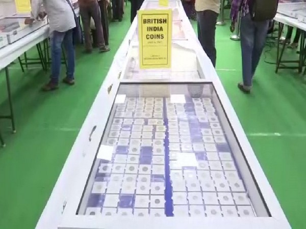 A visual of the coins at the exhibition on Friday. Photo/ANI