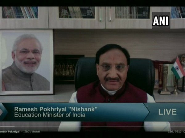 Union Human Resource Development Minister Ramesh Pokhriyal during online interaction with students.