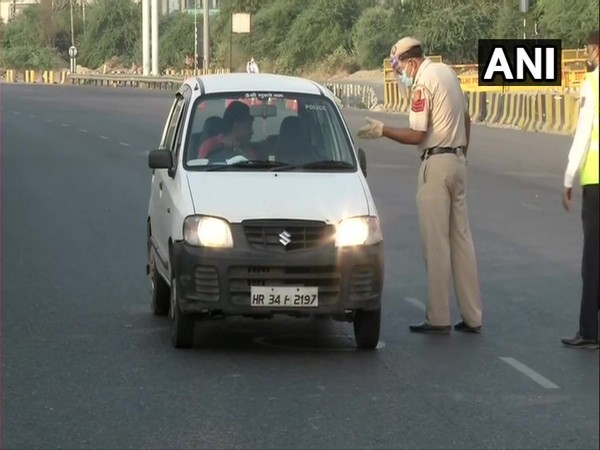 A visual of the Delhi-Gurugram border. Photo/ANI