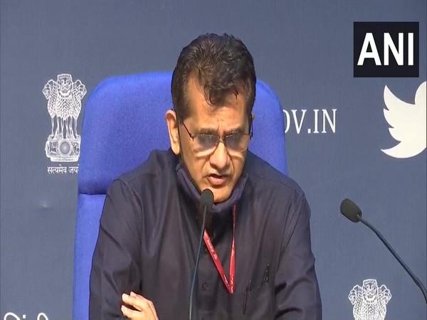 NITI Aayog CEO Amitabh Kant speaking to reporters on Wednesday (Photo/ANI)