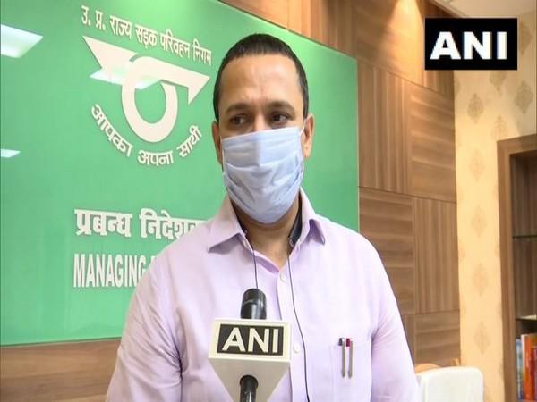 Managing Director of Uttar Pradesh State Road Transport Corporation (UPSRTC) Raj Shekhar speaking to reporters on Thursday. [Photo/ANI]