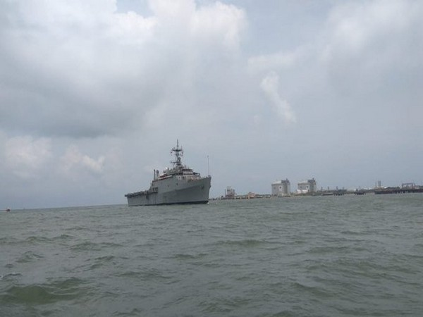INS Jalashwa carrying 588 Indians from Maldives enters Kochi Harbour.
