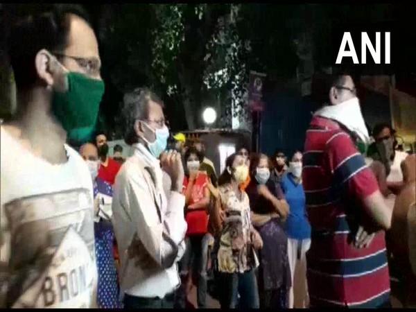 Locals protest against setting up of quarantine centre near Cama Lane in Mumbai.