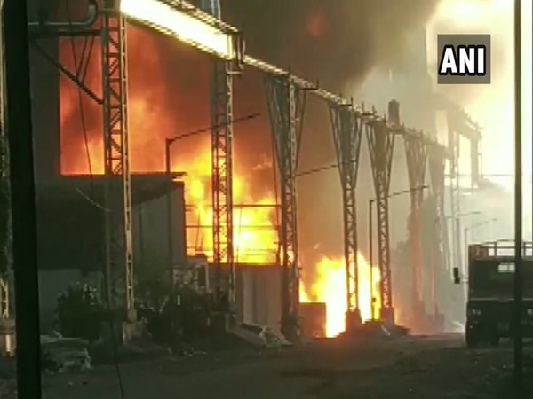 Fire breaks out in Surat at GIDC area on Saturday (Photo/ANI)