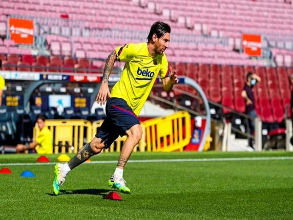Argentine striker Lionel Messi returns to training (Photo/ FC Barcelona Twitter)