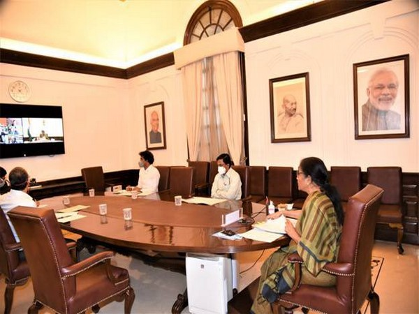 Union Finance Minister Nirmala Sitharaman attended the Special Board of Governors meeting of NDB on Wednesday. Photo/ANI
