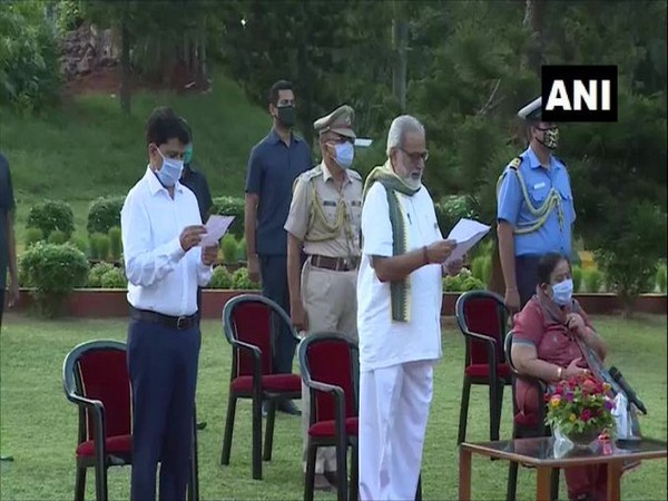 Odisha Governor Ganeshi Lal and Raj Bhavan officers sing the state anthem, 'Bande Utkala Janani', to express solidarity with COVID-19 warriors.