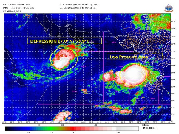 An Image shared by IMD showing building of low pressure area in Arabian Sea.