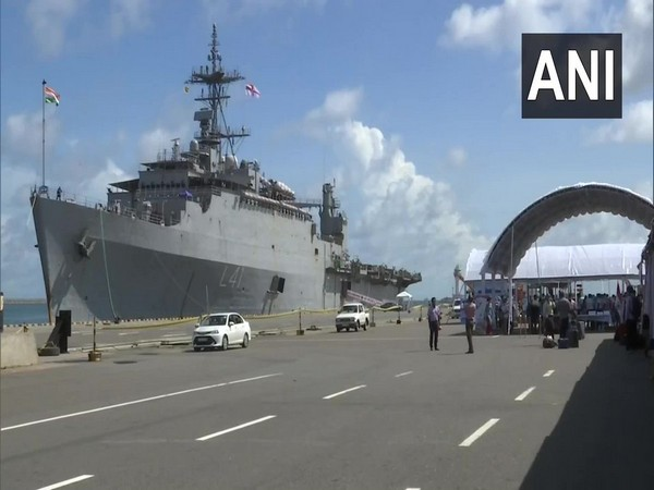 Indians who were stranded in Sri Lanka arrived at the Colombo Port to board the INS Jalashwa (Photo/ANI)
