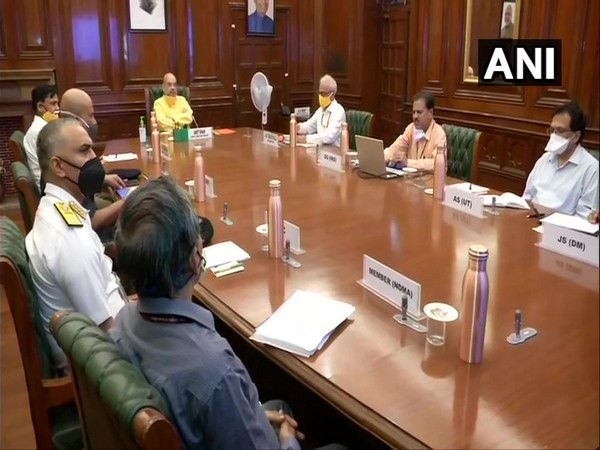 Union Home Minister Amit Shah in a meeting with NDMA, NDRF, IMD, and Indian Coast Guard officials in New Delhi on Monday. Photo/ANI
