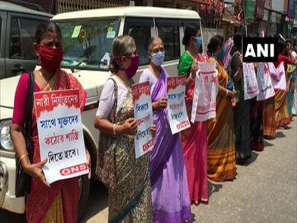 Activists of Ganatantrik Nari Samiti staged a protest in  Agartala (Photo/ANI)