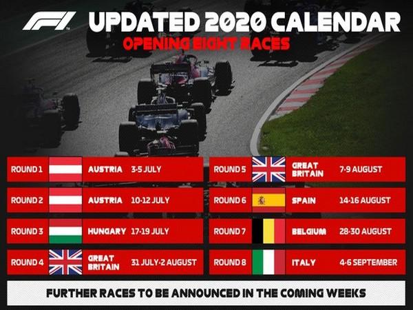 Formula One revised calendar (Photo/ Formula One Twitter)