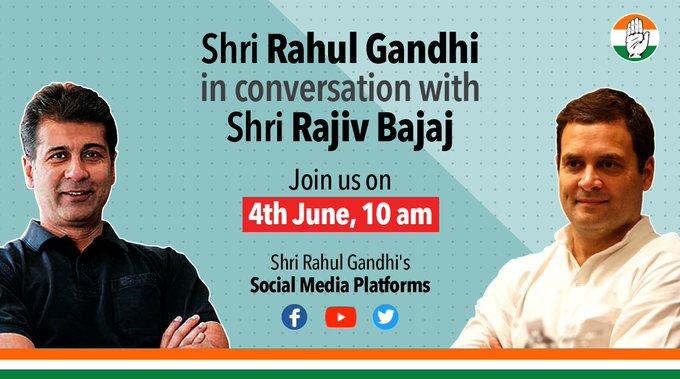 Rahul Gandhi held a discussion with Rajiv Bajaj, MD Bajaj Auto on the impact of lockdown. [Photo/Twitter]