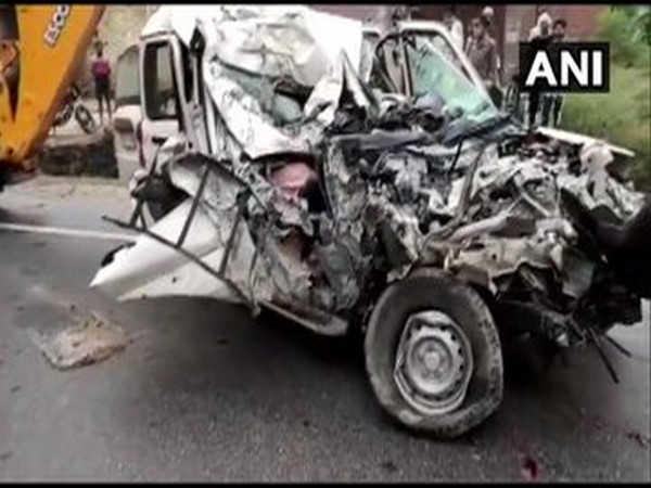 The badly mangled remains of the car after the accident in Pratapgarh. [Photo/ANI]