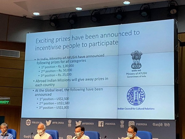 Government of India on Friday launched the international video blog competition 'MyLifeMyYoga' (Photo/ANI)