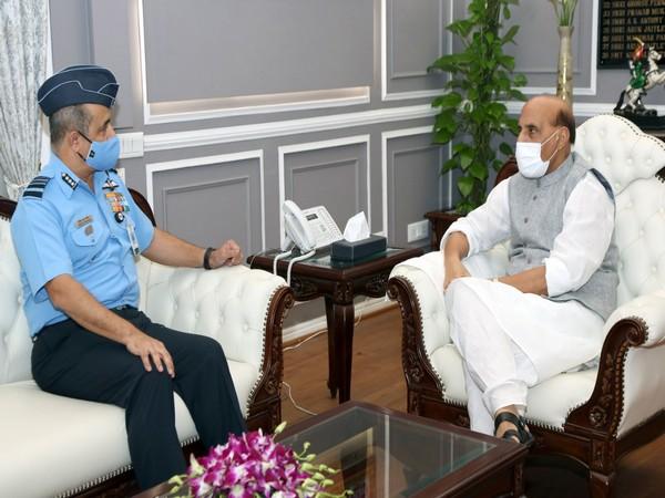 Air Staff-designate Air Marshal VR Chaudhari with Defence Minister Rajnath Singh