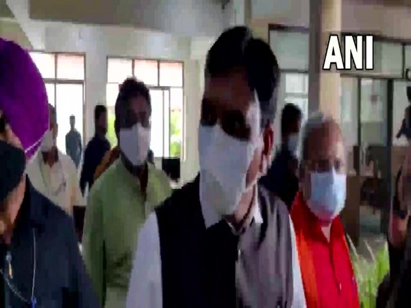 Union Health Minister Mansukh Mandaviya reached BJP office in Gandinagar  (Photo/ANI)