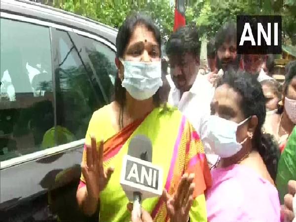 DMK MP Kanimozhi speaking to ANI in Chennai.