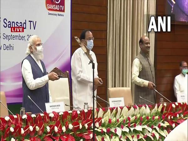 Vice President and Rajya Sabha chairman M Venkaiah Naidu, Prime Minister Narendra Modi and Lok Sabha Speaker Om Birla jointly launch Sansad TV (Photo/ANI)
