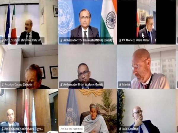 Permanent Representative of India to the United Nations, Ambassador TS Tirumurti at Climate Advisory Group meeting. Photo Courtesy: Twitter/ambtstirumurti