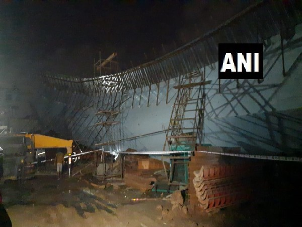 Visual from Mumbai where a portion of a flyover collapsed. (Photo/ANI)