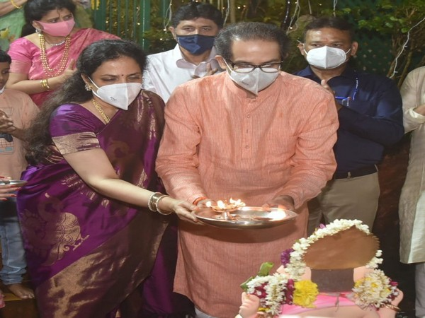 Maharashtra Chief Minister Udhav Thackrey performed Ganpati immersion at his residence
