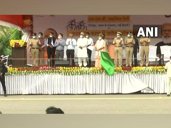 Uttar Pradesh Chief Minister Yogi Adityanath flagged cycle rally (Photo/ANI)