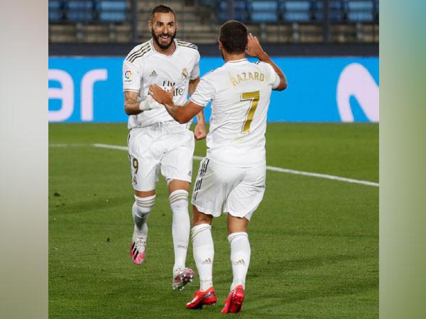 Karim Benzema with Eden Hazard. (Photo/ Real Madrid Twitter)
