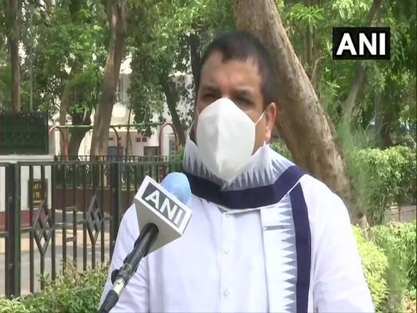 AAP Rajya Sabha MP Sanjay Singh speaks to ANI in New Delhi [Photo/ANI]