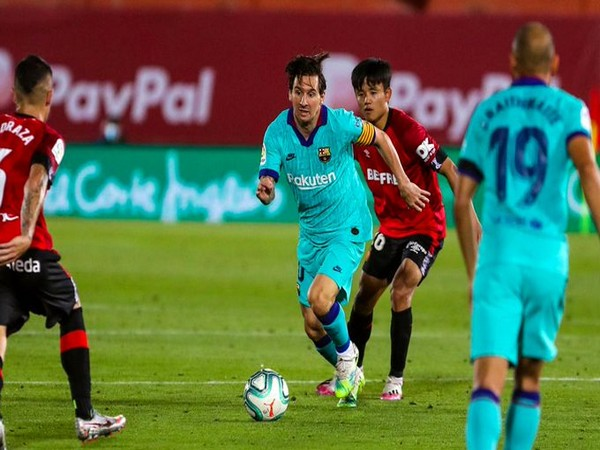 Lionel Messi in action against Mallorca. (Photo/ Barcelona Twitter)
