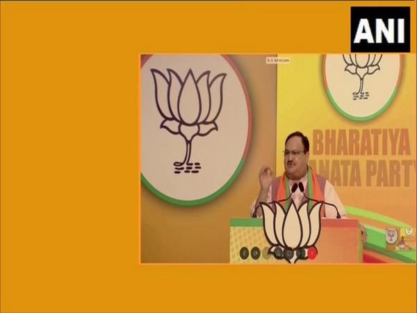BJP national president JP Nadda addressing the Kerala Jan Samvad rally via video conference on Tuesday.