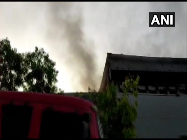 Fire breaks out at auto parts godown in Greater Noida. Photo/ANI