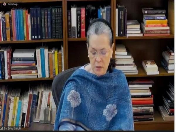 Congress interim President Sonia Gandhi during CWC on Tuesday. [Photo/ANI]