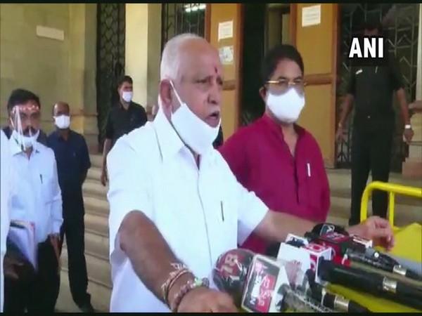 Karnataka Chief Minister BS Yediyurappa speaking to reporters in Bengaluru on Thursday. [Photo/ANI]