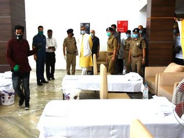 Uttarakhand Chief Minister Trivendra Singh Rawat inspecting the COVID care centre in Dehradun on Thursday. Photo/ANI