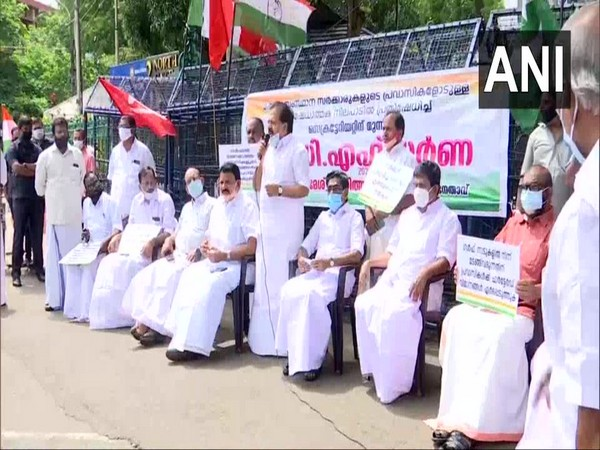 Congress leaders staged a protest against the state government in Thiruvananthapuram (Photo/ANI)