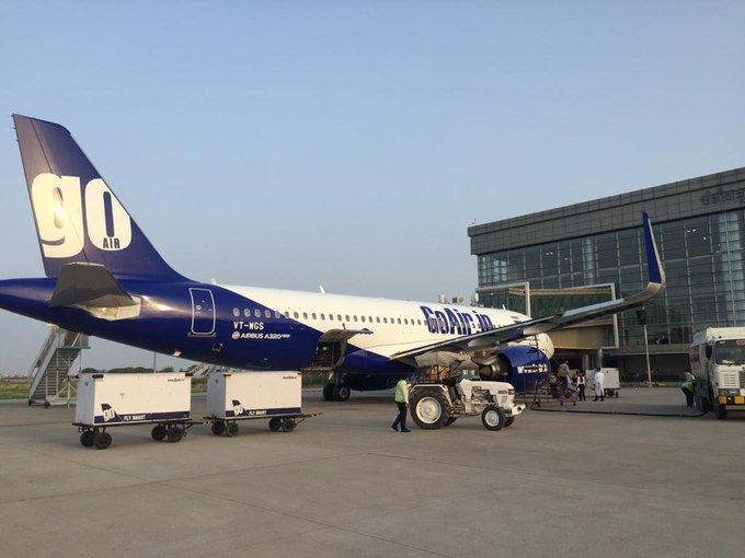 GoAir flight at Chandigarh International Airport. Photo/ANI