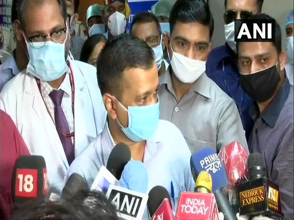 Delhi Chief Minister Arvind Kejriwal speaking to reporters on Tuesday. (Photo/ANI)