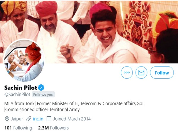 Sachin Pilot changed his bio on Twitter on Tuesday. [Photo/ANI]