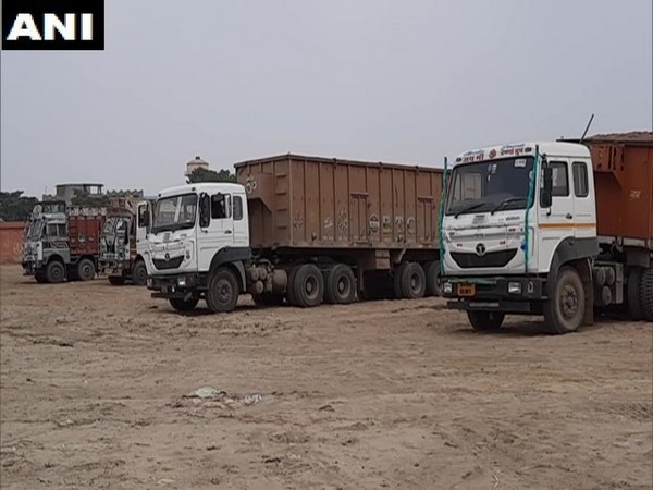 Trucks parked at one place in UP's Aligarh from the past three months. [Photo/ANI]