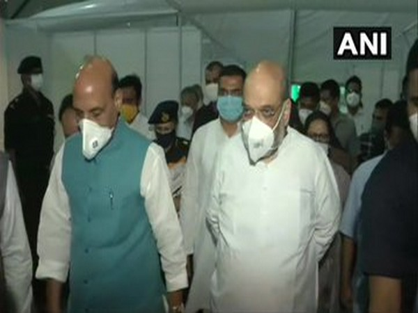 Union Defence Minister Rajnath Singh and Union Home Minister Amit Shah visit the DRDO-built Sardar Vallabhbhai Patel COVID-19 Hospital in Delhi on Sunday.